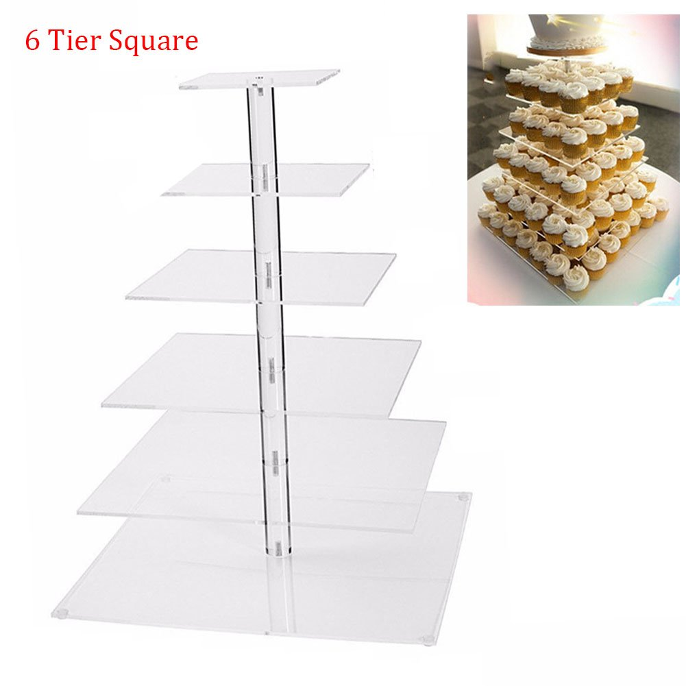 Acrylic Cupcakes Stands Holders, Clear Wedding Cakes Stand, Large Pastry Cupcake Tower Stand Cupcake Tree, Cupcake Display (6 Tier Square)