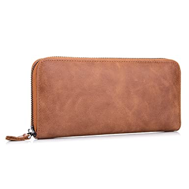 3ef14cccfd79 MuLier Vintage Genuine Leather Zip Around Wallet Clutch Large Travel ...