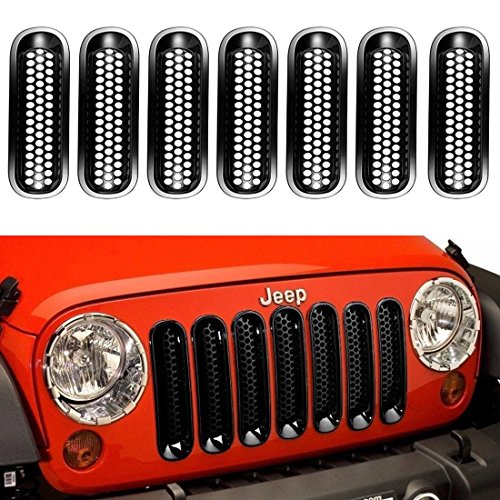 Chrome Clip-in Front Mesh Grille Inserts for 2007-2015 Jeep Wrangler /& Unlimited Pack of 7