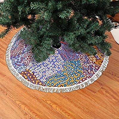 Paoseven - Falda para árbol de Navidad, Color Azul y Rojo, Negro ...