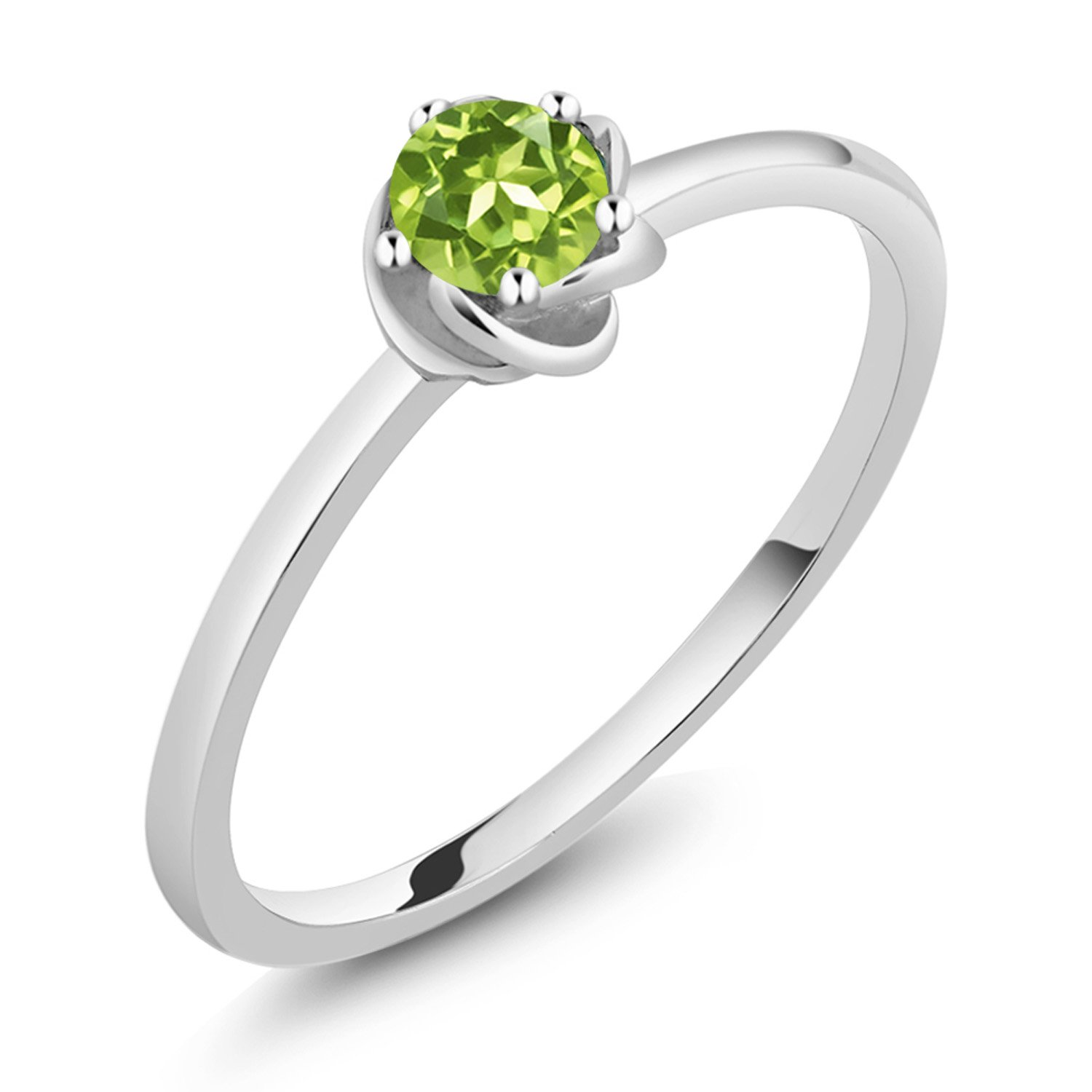 10K White Gold Green Peridot Solitaire Engagement Ring 0.18 Ct Round (Size 6)