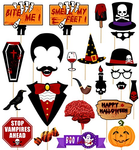 Decorations Vampire (59Ct Halloween Photo Booth Props - Zombie Vampire Party Supplies)