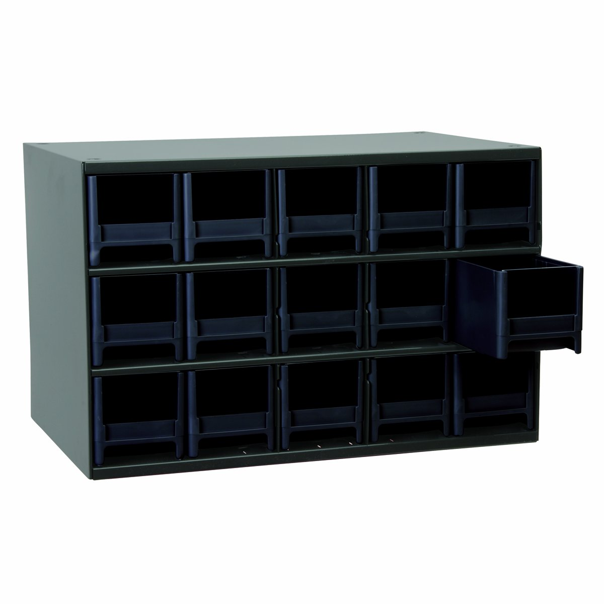 Akro-Mils 19715 17-Inch W by 11-Inch H by 11-Inch D 15 Drawer Steel Parts Storage Hardware and Craft Cabinet, Black Drawers by Akro-Mils