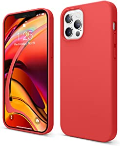 elago Liquid Silicone Case Compatible with iPhone 12 and Compatible with iPhone 12 Pro 6.1 Inch (Red) - Full Body Protection (Screen & Camera Protection)