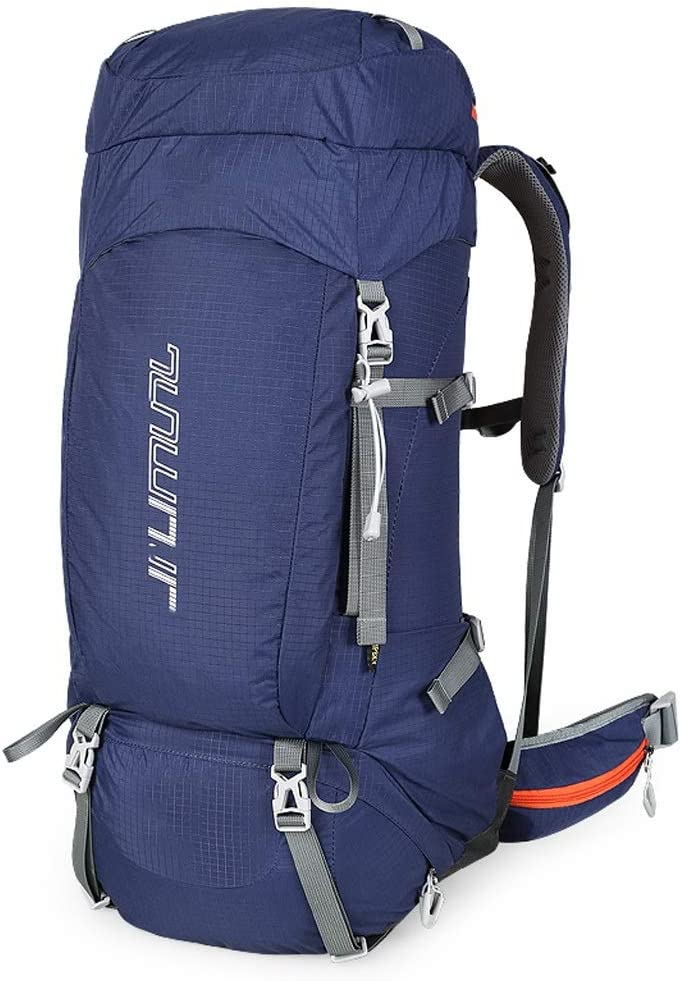 HJBH高品質ナイロン布素材バックパック登山バッグ肩男性と女性アウトドアウォーキング大容量多機能旅行バックパックキャンプリュックサック防水耐摩耗性引裂抵抗性サイズ:高65 CM *幅31 CM *厚さ17 CM(青)