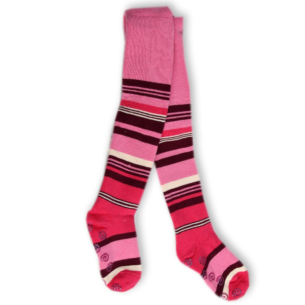 Kinderstrumpfhose ABS hochwertige Strumpfhose Thermostrumpfhose Frottee mit Muster Ringel pink rosa Gr. 104 - 110 Art. 534013 Rewon