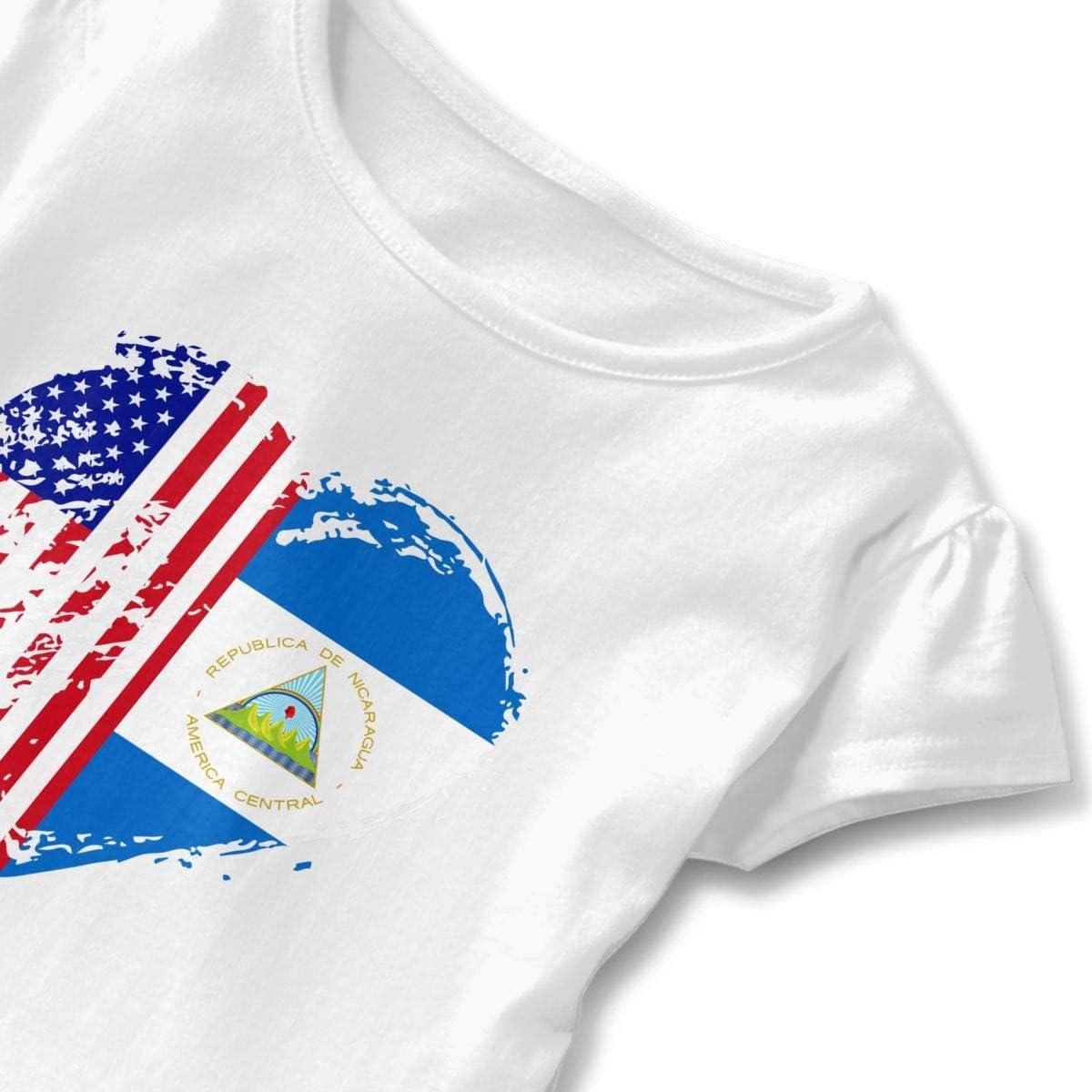 26NSHIRT Grungy Nicaragua American Flag Heart Girls Short Sleeve Cotton Tops