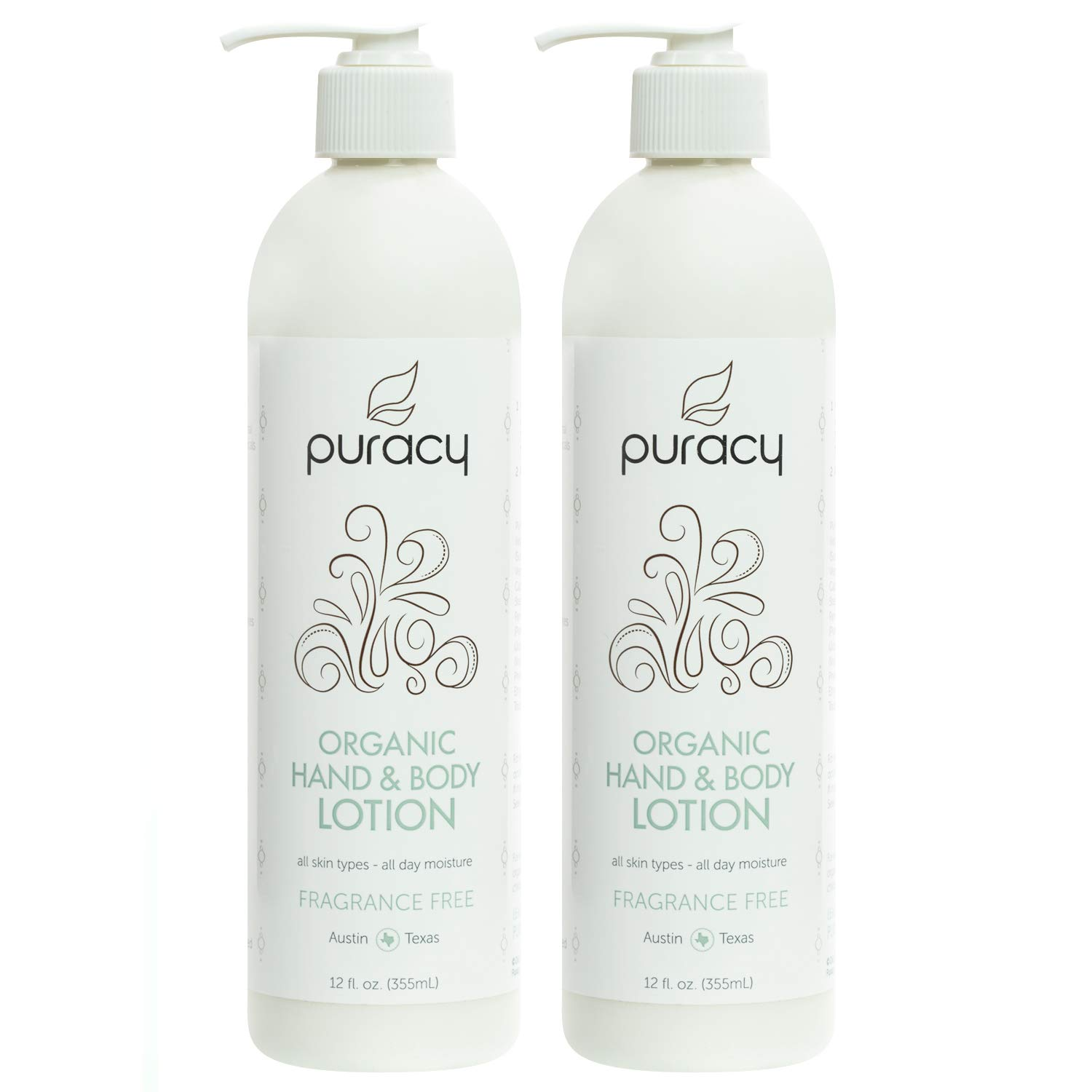 Puracy Organic Hand & Body Lotion, Fragrance Free Unscented Natural Moisturizer, 12 Ounce (2-Pack) by Puracy