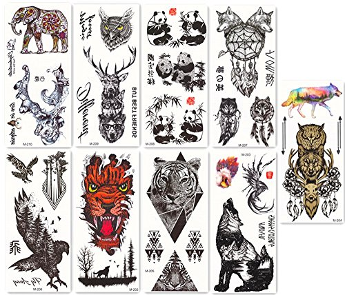 DaLin Temporary Tattoos for Men Women 9 Sheets, Animals (Collection 2) -