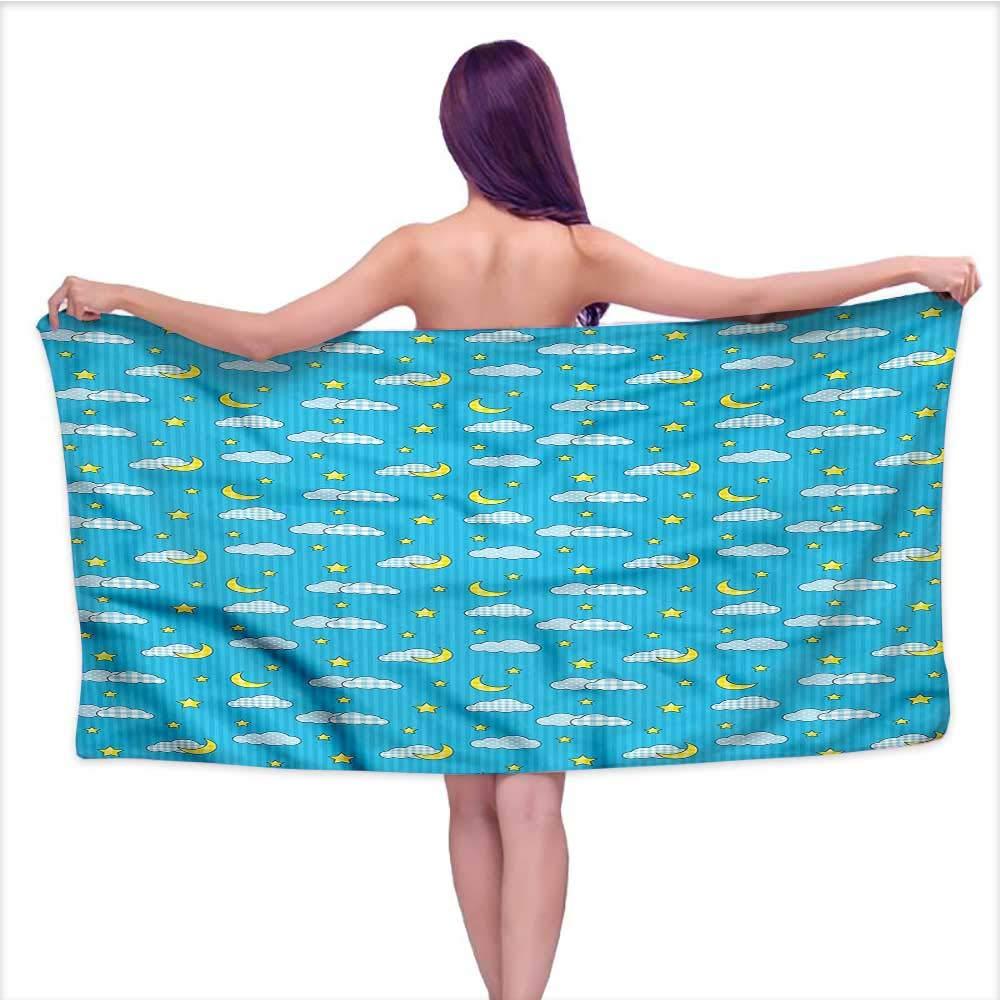 Ediyuneth White Bath Towels Bulk Moon,Retro Style Kids Bedtime,W31 xL63 for Kids Mickey Mouse