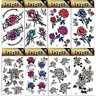 8pcs Varios duraderas y realista tempet ätowi erung Pegatinas Diseños en 1Paquete, es incluyendo schwarzweiss de flores, flores y mariposas de tätowierungauf adhesivo