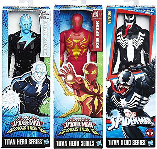 Venom Black Suit Vs Sinister 6 Iron Spider 3-Pack Titan Hero Series & Marvel's Electro Villain Hero Set Action Figures