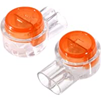 200 Pack UY Wire Connector, Uvital Waterproof Gel-Filled Orange Clear Button Telephone Wire Connectors UY Butt Splice Connector K1 Network Cable Terminals