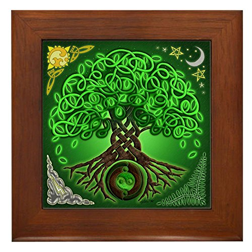 CafePress - Circle Celtic Tree Of Life - Framed Tile, Decorative Tile Wall ()