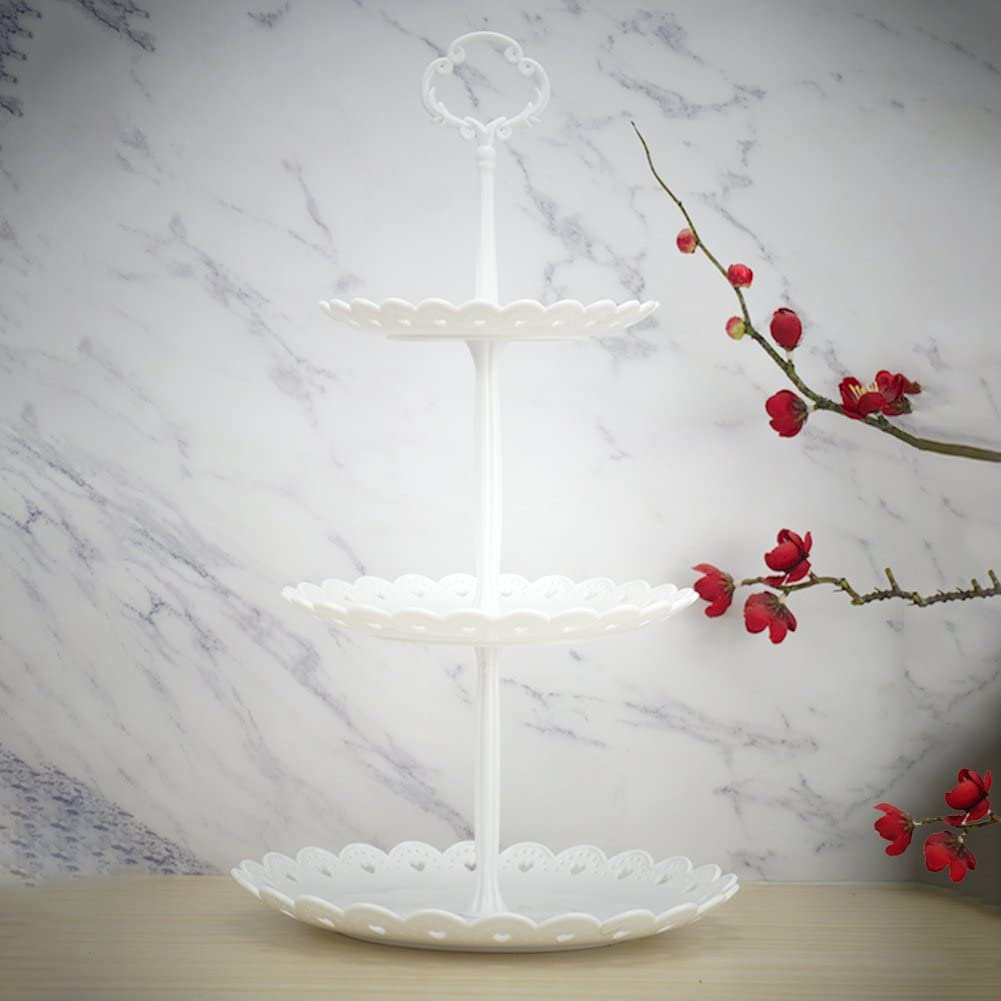 3-Tier White Plastic Dessert Stand Pastry Stand Cake Stand Cupcake Stand Holder Serving Platter for Party Wedding Home Decor