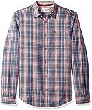 Original Penguin Men's Brushed Flannel Plaid Shirt, Vintage Indigo, Large