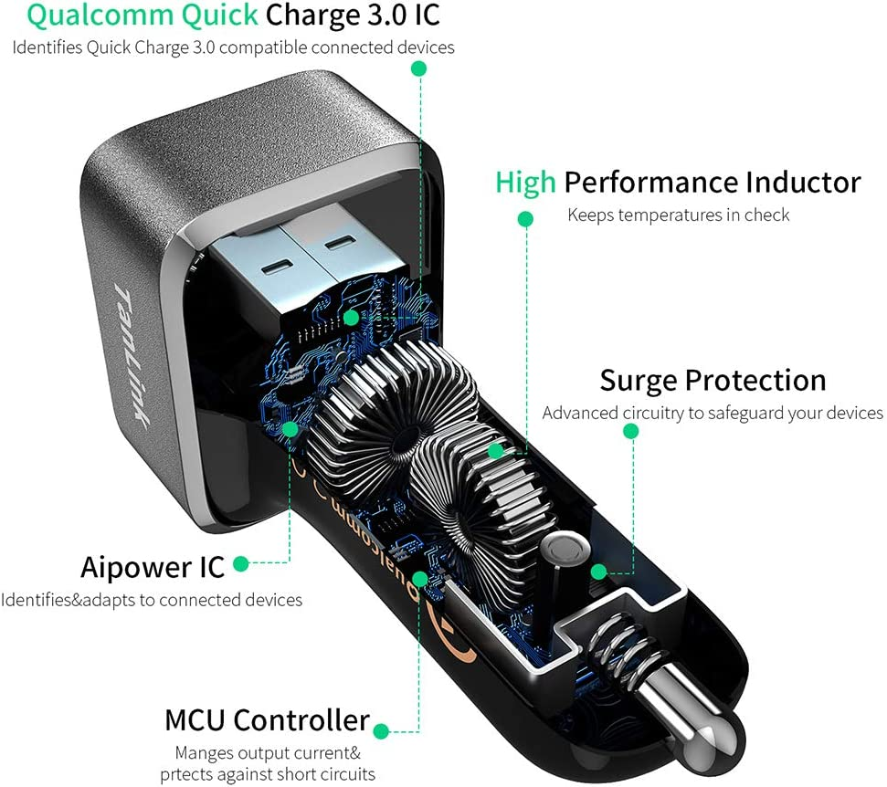 36W Dual USB Quick Charge 3.0 Car Charger for iPhone iPad Motorola and More HTC QC 3.0 Car Charger LG UL Listed Nexus