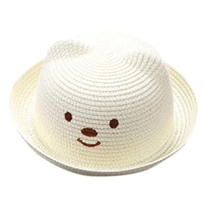 Kids Beach Sun Hat,Kaicran(TM) Summer Unisex Child Cartoon Bear Straw Hat Breathable Sun Protection Caps for 2-6 Y (White): Clothing