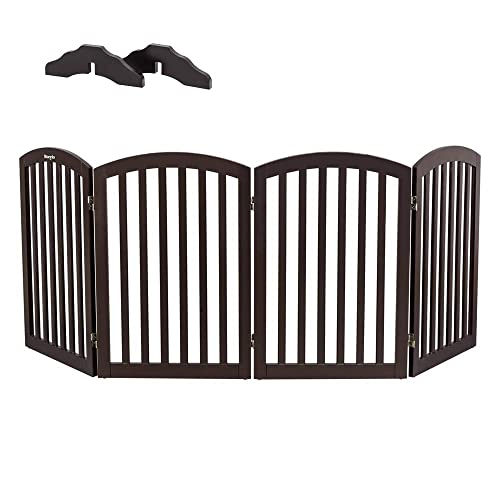Bonnlo Wooden Folding Pet Gate Freestanding Barrier for Dogs Cats 4 Panels Doggy Kitty Safety Fence Fully Assembled Expands Up to 82 Wide, 30 High Dark Brown Foot Supporters Included