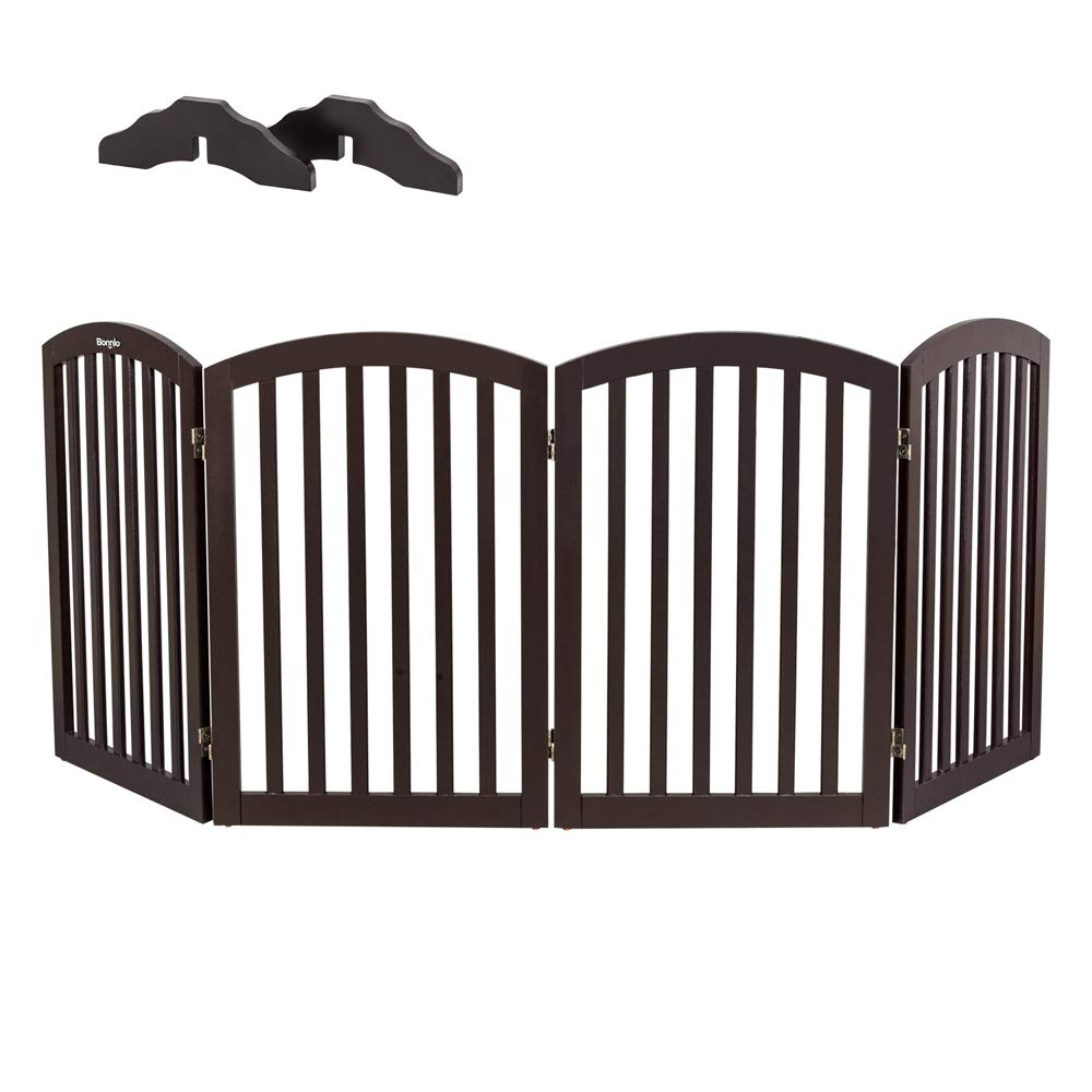 Bonnlo Wooden Folding Pet Gate Freestanding Barrier for Dogs Cats 4 Panels Doggy Kitty Safety Fence | Fully Assembled | Expands Up to 82'' Wide, 30'' High | Dark Brown | Foot Supporters Included