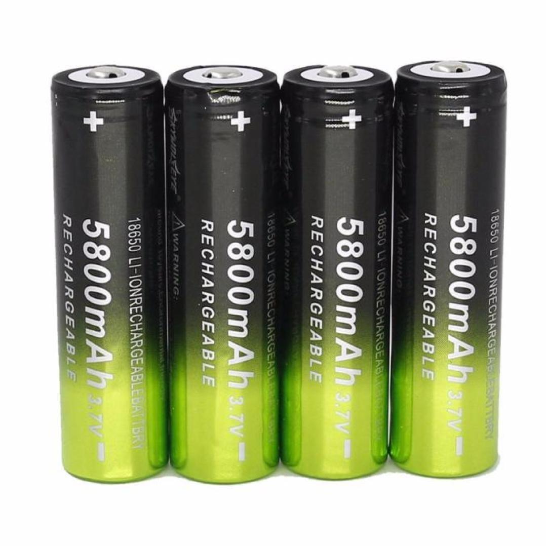 18650 Akku, Gusspower 4er Pack 18650 Wiederaufladbare batterien (5800mAh/3.7V/Li-Ion) für LED Taschenlampe Lampe Fackel