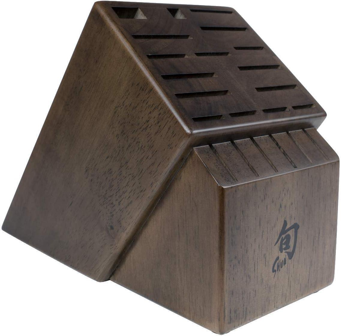 Shun 22 Slot Solid Wood Storage for Steak Knives Knife Block Set, Walnut