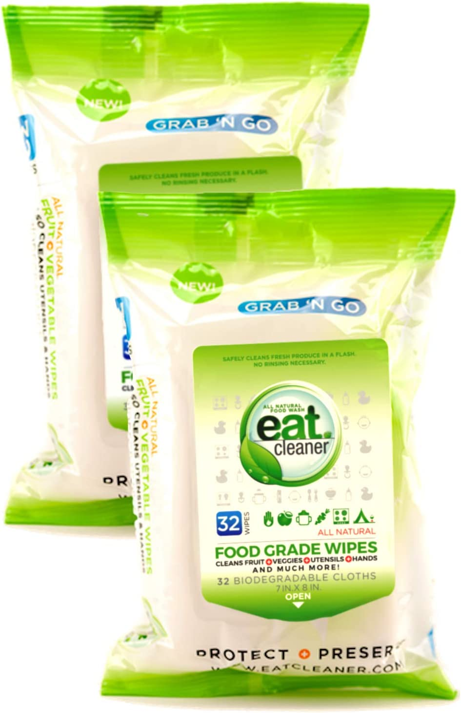Eat Cleaner Food Grade Wipes - Your to-GO for All Your Green Cleaning Needs Where There is NO Water- 32CT. 2PACK