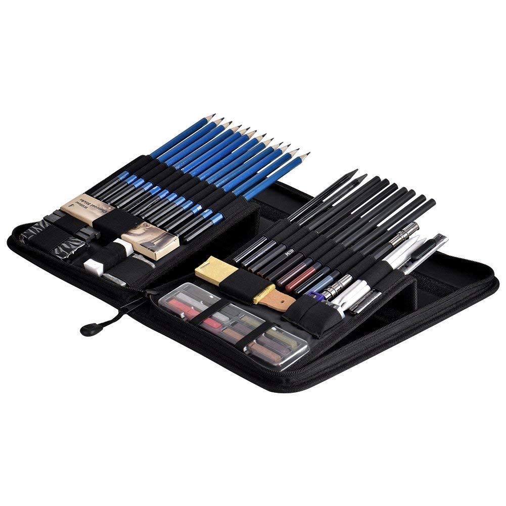 Towinle Bleistift Set 30-teilige Skizzieren Zeichnen Stifte Bleistifte zum Skizzieren und Zeichnen Professional Skizzierstifte Set mit Zeichenkohle Papierwischer in Eisenkiste
