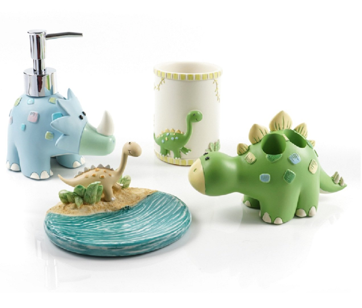 Gesteh Cartoon dianosaur Bath Accessory Set, Soap Dispenser Pump, Toothbrush Holder, Tumbler, Soap Dish (one Set)