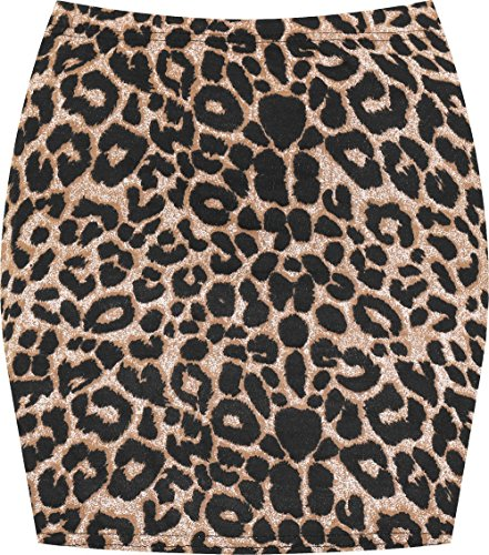 WearAll Women's Print Mini Skirt - Brown Leopard - 4-6 (Leopard Stretch Skirt)