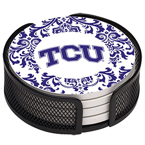 Thirstystone VTCU3-HA17 Stoneware Drink Coaster Set with Holder, Texas Christian University Pattern