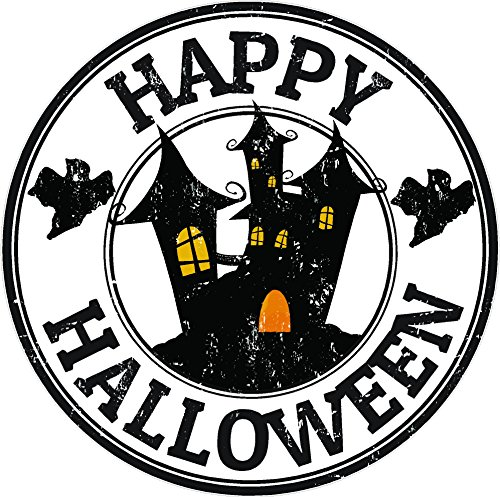 Oval happy halloween castle 4x4 sticker decal die cut vinyl - Made and Shipped in USA -
