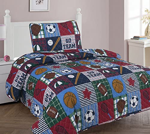 GorgeousHome RACE CARS Boys Quilt OR Sheet Set OR Window Curtain Panel OR Valance Kids//Teens Complete Your Set 3PC FULL QUILT SET