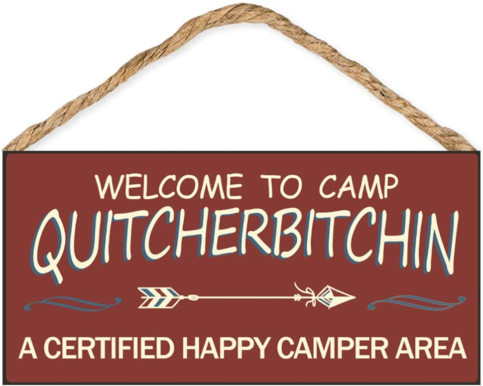 "Calien Welcome to Camp Quitcherbitchin 6"" x 12"" Hanging Wooden Camping Decor Sign Gifts for Campers"