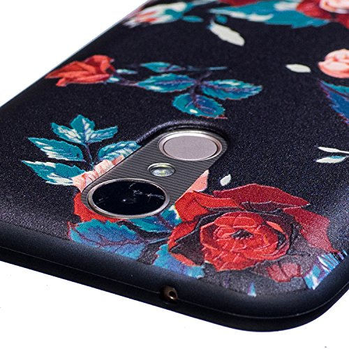 Funda LG K10 2017, CaseLover Negro Suave Silicona TPU Carcasa para LG K10 2017 Ultra Delgado Flexible Gel Protectora Tapa Anti-Arañazos Movil Celular Cubierta Ligero Caja Anti-Rasguños Espalda Paracho Flor rosa