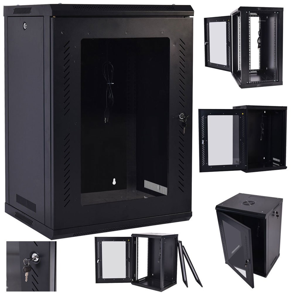 Z ZTDM Wall Mount Network Cabinet Server Rack IT Date Computer Enclosure Equipment Rack Cabinet with Cooling Fun (18U)