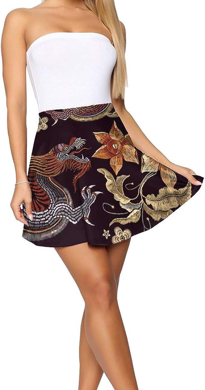 Falda bordada asiática con diseño de dragones y flores, para mujer ...