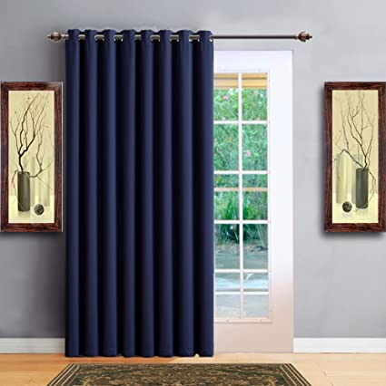Warm Home Designs 1 Panel Of Navy Blue Color Blackout Patio Door Curtains Each Extra Wide Insulated Thermal Sliding Door Or Room Divider Curtain Is