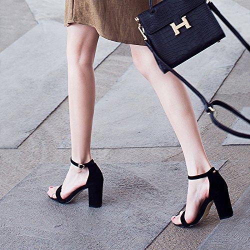 De Sandalias Toe High EU35 De Satén con Dew Hembra Hebilla Negro Grueso Zapatos Eu40 Zapatos SHOESHAOGE Ranurado Heel Mujer fwqPXIyS