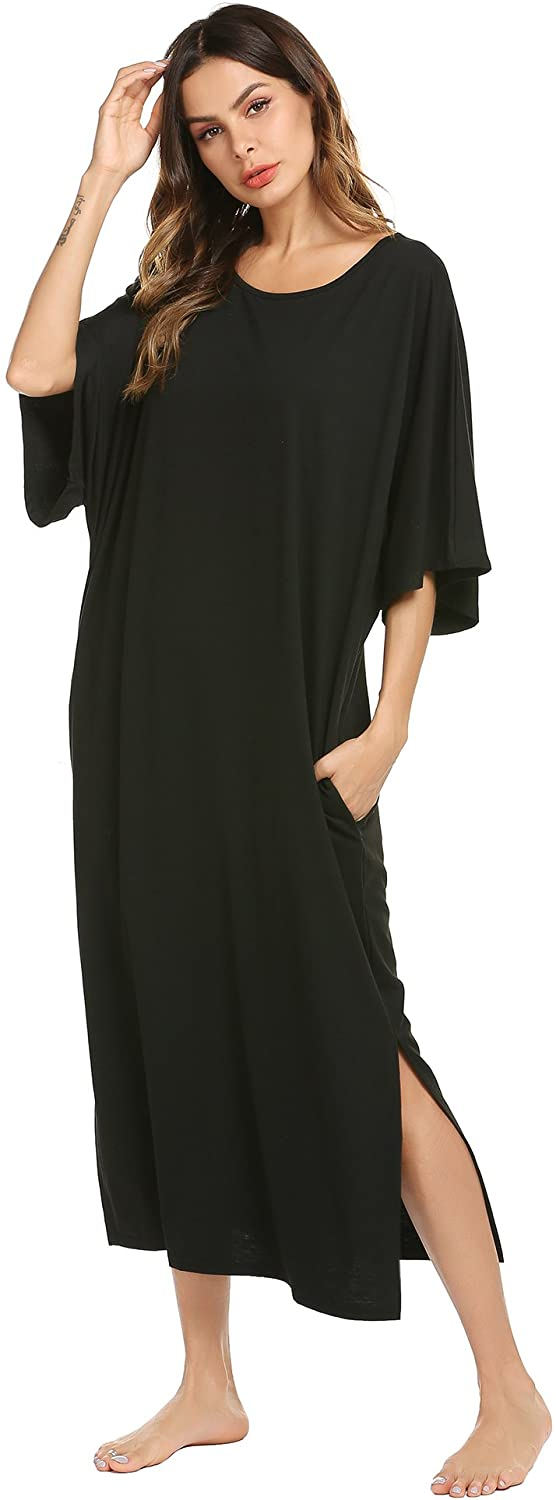 Ekouaer Nightgown, Womens Round Neck/V Neck Loungewear Oversized Pajama Loose Pockets Long Sleep Dress
