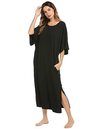 Ekouaer Womens V-Neck Cotton Nightgown Oversized Loose Fit Long Sleep  Dress 6c689b3e1