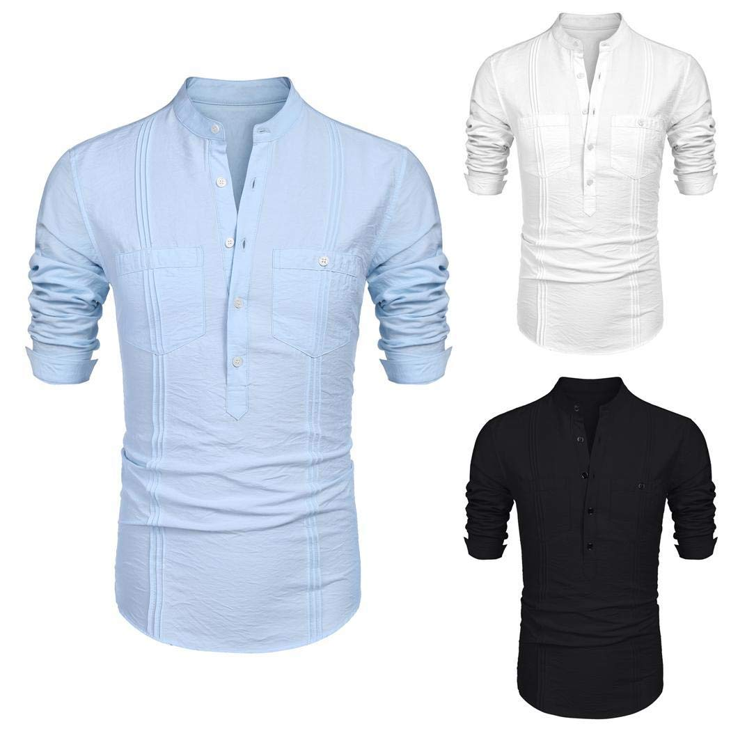 UpBeauty Men's Long Sleeve Tunic-Style Stand Collar Shirt with Pockets Casual Button-Down Shirts Black
