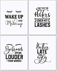 Confetti Fox Makeup Wall Decor Art - 8x10 Unframed Set of 4 Metallic Pearl Prints - Funny Sassy Quotes Sayings Teen Girls Gift Posters Wake Up Make Up Gorgeous Lashes Eyebrows
