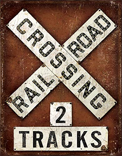 (Desperate Enterprises Railroad Crossing Tin Sign, 12.5