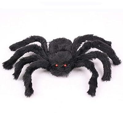 Accesorios de Halloween creativos simulados araña Falsa para Casas embrujadas Barras Fuente Decorativa Scary Plush Spiders Tricky Toys-Black-30cm: Juguetes y juegos