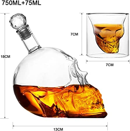 HEFUTE 7 Piezas Juego Craneo Vasos de chupito y Botella de Cristal (1 Botella cráneo 750ml + 6 Vasos 75ml), para Fiesta, Bar, Cena