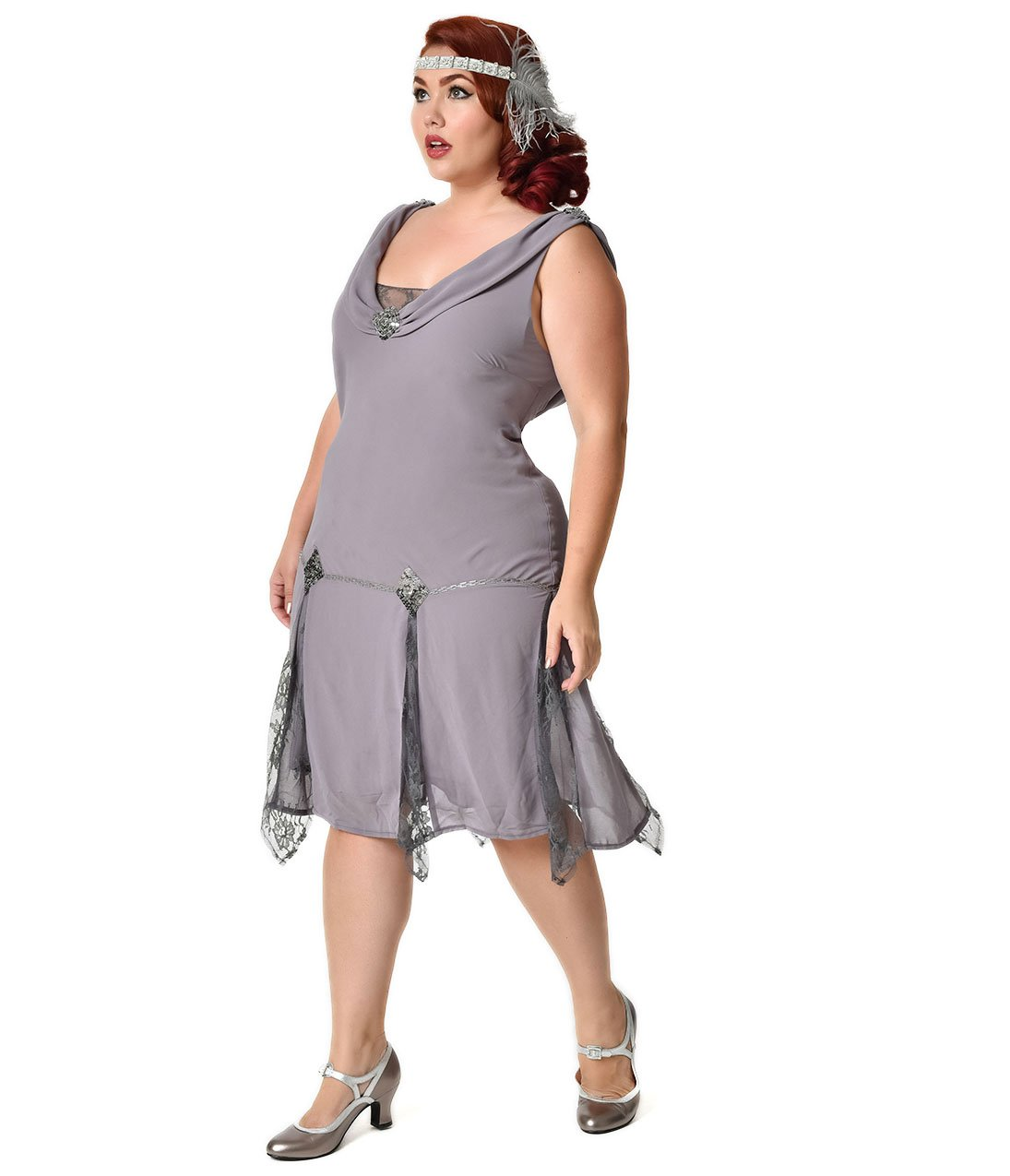 Unique Vintage Plus Size 1920s Style Grey Hemingway Flapper Dress by Unique Vintage