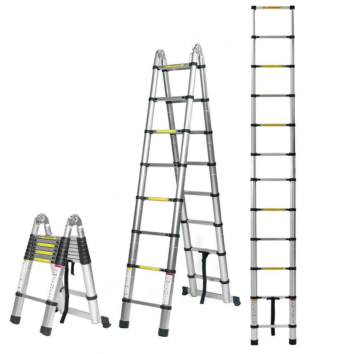 16.5FT/5M Aluminum Telescoping Extension Ladder Portable Multi-Purpose Folding A-Frame Ladder with Hinges with Certificate EN131 Max Load 330lb