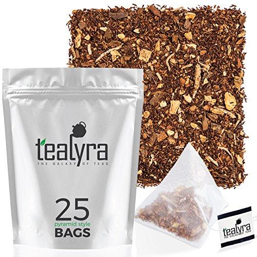 Tealyra - Rooibos Coconut Vanilla Chai - 25 Bags - Ginger Cinnamon - Red Bush Rooibos Herbal Loose Leaf Tea - Antioxidants Rich - Caffeine-Free - Pyramids Style Sachets