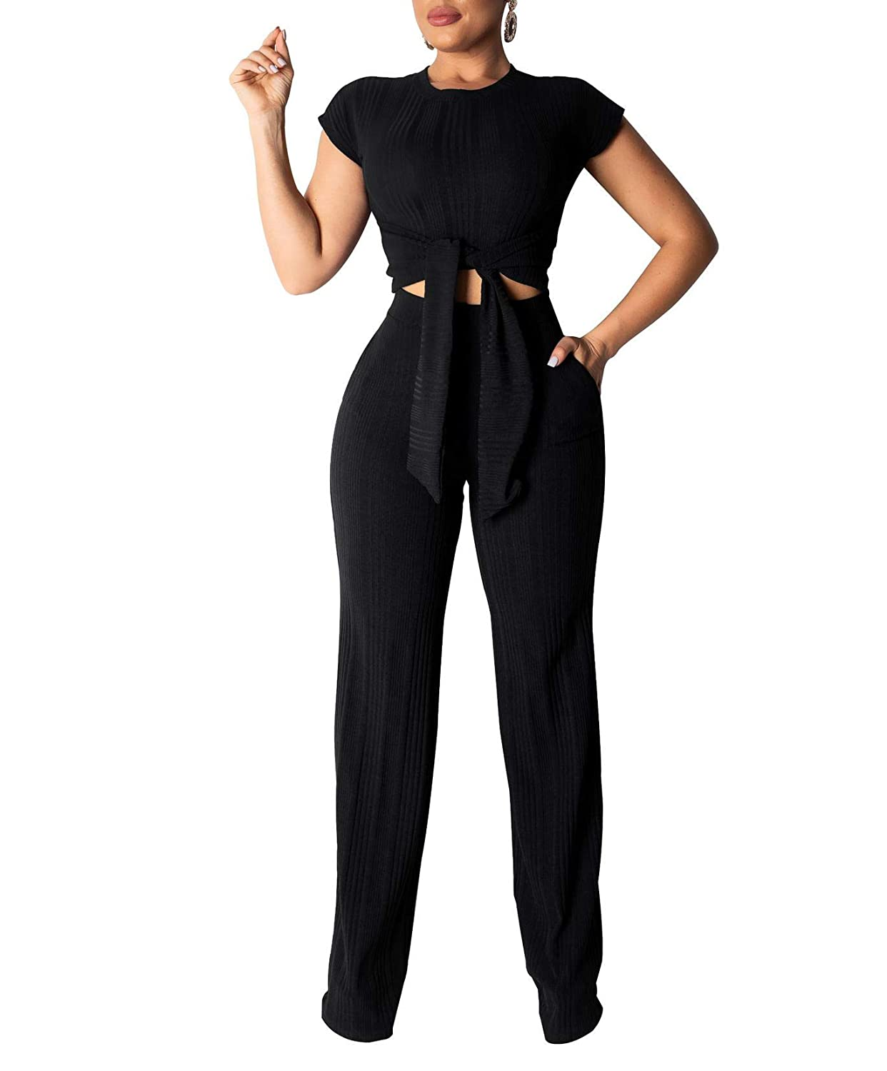 Black Remelon Womens Short Sleeve Ribbed Tie Up Crop Top Pockets Loose Long Pants Set 2 Piece Outfits Jumpsuits